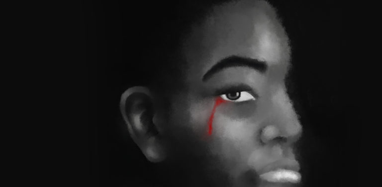 Image of a black child crying blood