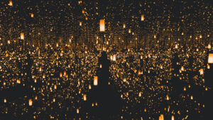 infinity mirror room with lone figure and infinity golden lights