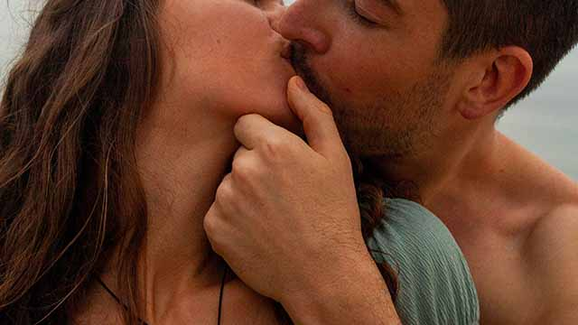 two people kissing intimately
